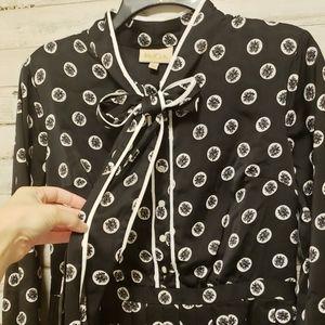 Modcloth Dresses - Modcloth black floral pleated retro tie-neck dress